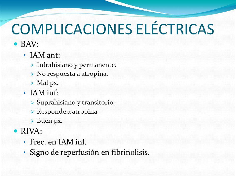 COMPLICACIONES ELÉCTRICAS BAV: IAM ant: Infrahisiano y permanente. No respuesta a atropina. Mal px. IAM inf: Suprahisiano y transitorio. Responde a at