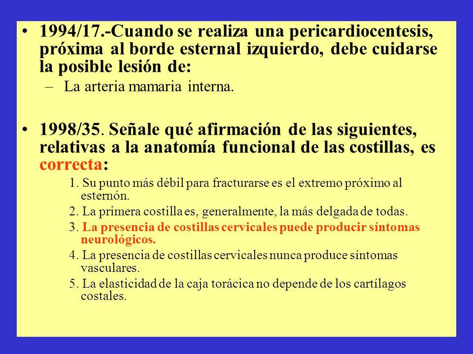 1994/17.-Cuando se realiza una pericardiocentesis, próxima al borde esternal izquierdo, debe cuidarse la posible lesión de: – La arteria mamaria inter