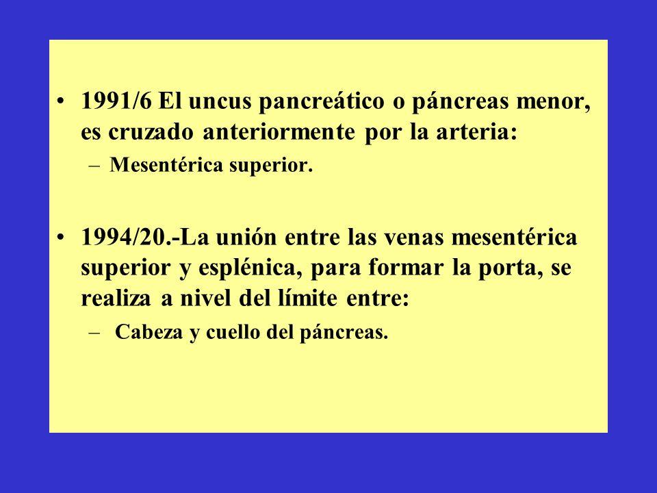 1991/6 El uncus pancreático o páncreas menor, es cruzado anteriormente por la arteria: –Mesentérica superior. 1994/20.-La unión entre las venas mesent