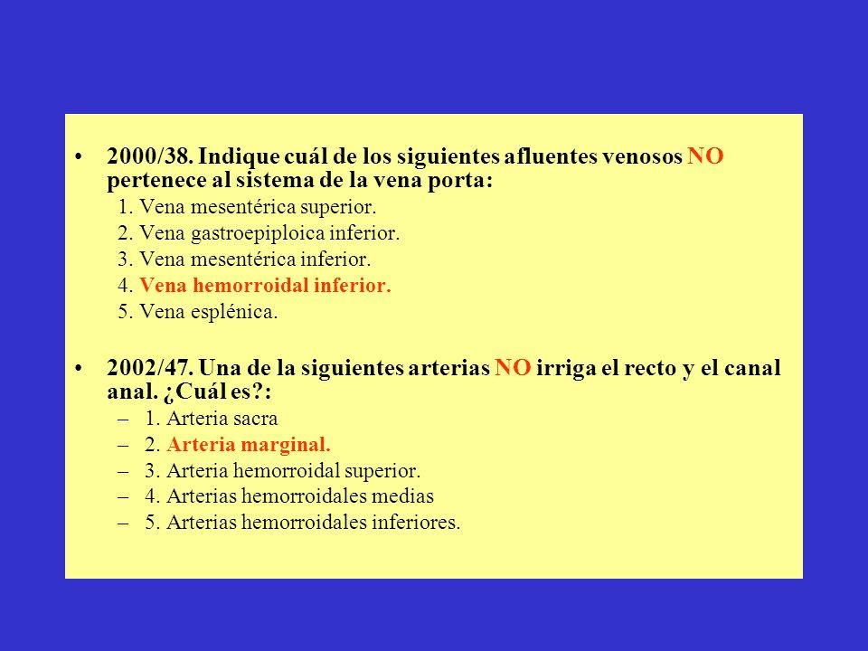 2000/38. Indique cuál de los siguientes afluentes venosos NO pertenece al sistema de la vena porta: 1. Vena mesentérica superior. 2. Vena gastroepiplo
