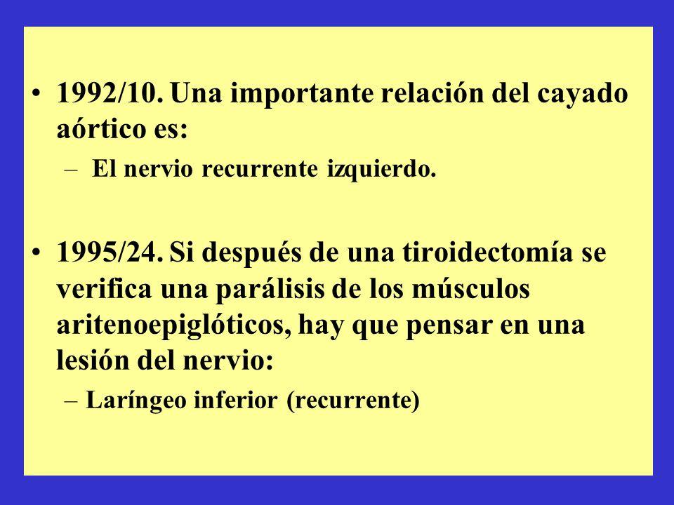 1992/10. Una importante relación del cayado aórtico es: – El nervio recurrente izquierdo. 1995/24. Si después de una tiroidectomía se verifica una par