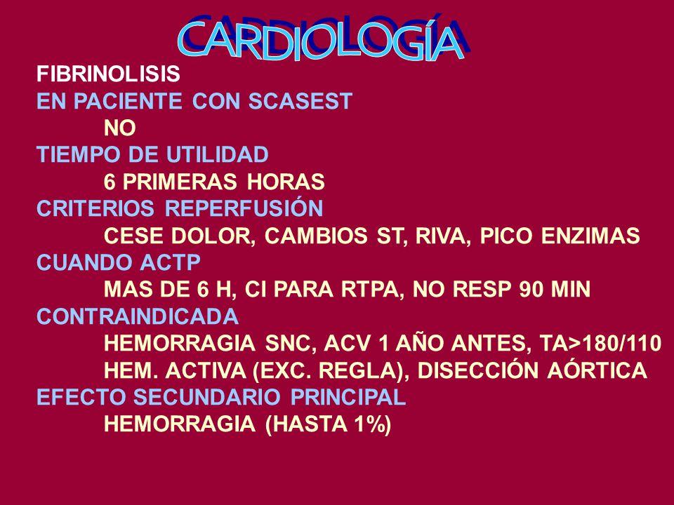 FIBRINOLISIS EN PACIENTE CON SCASEST NO TIEMPO DE UTILIDAD 6 PRIMERAS HORAS CRITERIOS REPERFUSIÓN CESE DOLOR, CAMBIOS ST, RIVA, PICO ENZIMAS CUANDO ACTP MAS DE 6 H, CI PARA RTPA, NO RESP 90 MIN CONTRAINDICADA HEMORRAGIA SNC, ACV 1 AÑO ANTES, TA>180/110 HEM.