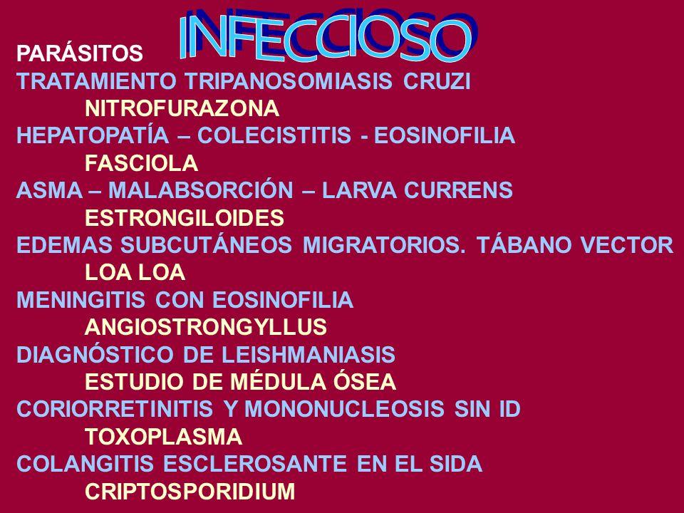 DREPANOCITOSIS HIDROXIUREA, AZACITIDINA, FÓLICO ESCLEROSIS MÚLTIPLE METILPREDNISOLONA, INTERFERÓN BETA AGUDIZACIÓN DE ASMA INHALADORES BETA 2 INSUFICIENCIA MITRAL CAPTOPRIL NEUMONÍA POR MICOPLASMA AZITROMICINA LITIASIS CÁLCICA TIACIDAS PROLACTINOMA BROMOCRIPTINA - CABERGOLINA ARRITMIAS POR HIPERPOTASEMIA GLUCONATO CÁLCICO FIEBRE MEDITERRÁNEA FAMILIAR COLCHICINA CIRROSIS BILIAR PRIMARIA URSODESOXICÓLICO, COLCHICINA, METOTREXATE ARTRITIS PSORIÁSICA METOTREXATE, RETINOIDES, INFLIXIMAB
