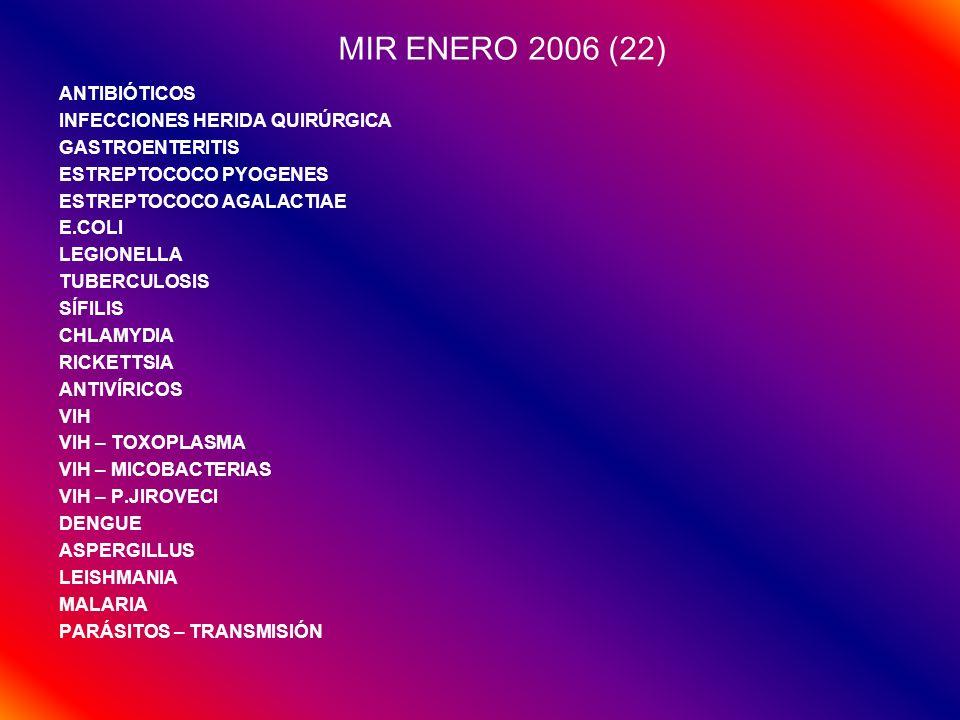 MIR ENERO 2006 (22) ANTIBIÓTICOS INFECCIONES HERIDA QUIRÚRGICA GASTROENTERITIS ESTREPTOCOCO PYOGENES ESTREPTOCOCO AGALACTIAE E.COLI LEGIONELLA TUBERCU
