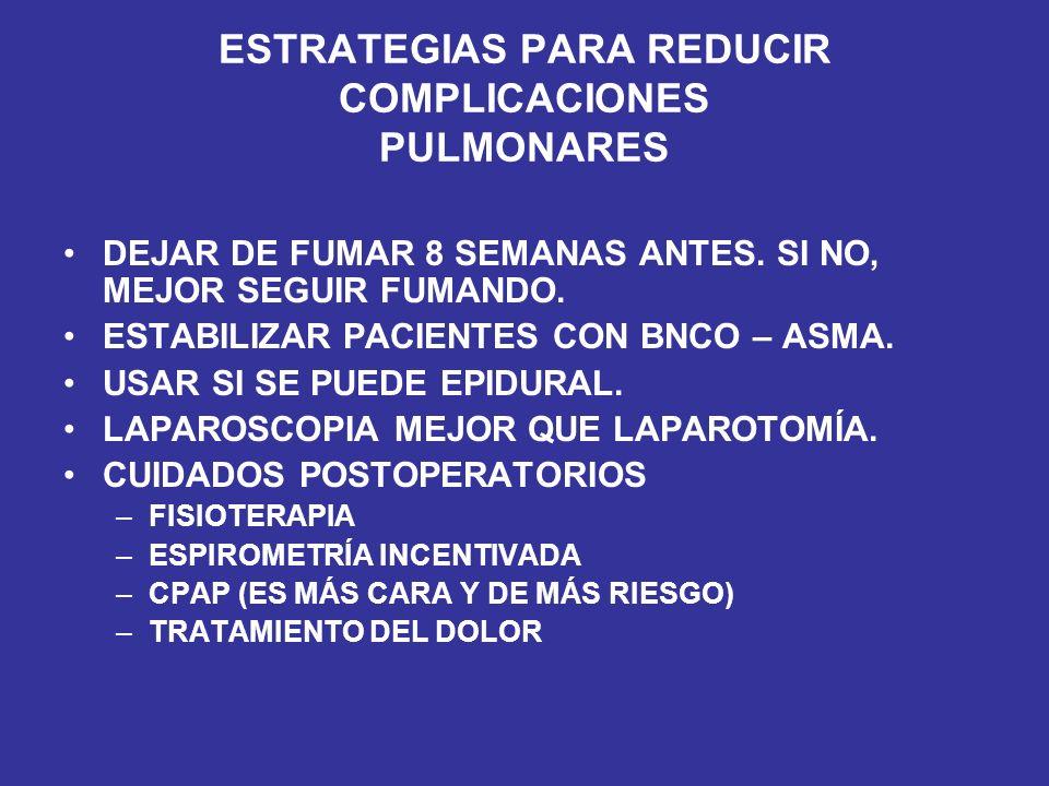 ESTRATEGIAS PARA REDUCIR COMPLICACIONES PULMONARES DEJAR DE FUMAR 8 SEMANAS ANTES. SI NO, MEJOR SEGUIR FUMANDO. ESTABILIZAR PACIENTES CON BNCO – ASMA.