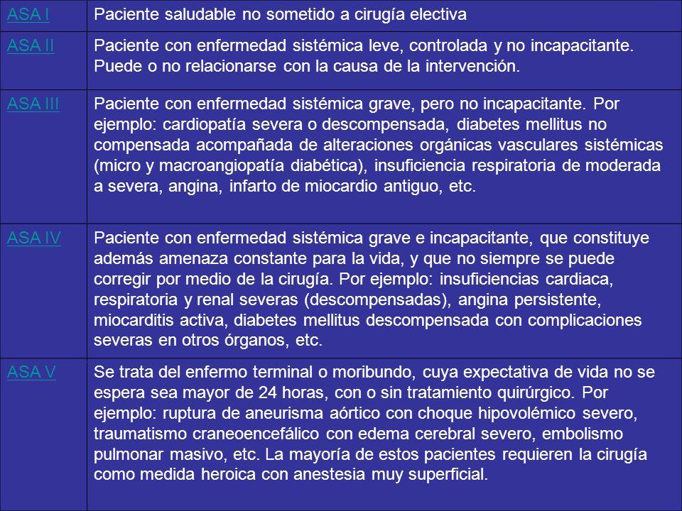 ASA IPaciente saludable no sometido a cirugía electiva ASA IIPaciente con enfermedad sistémica leve, controlada y no incapacitante. Puede o no relacio