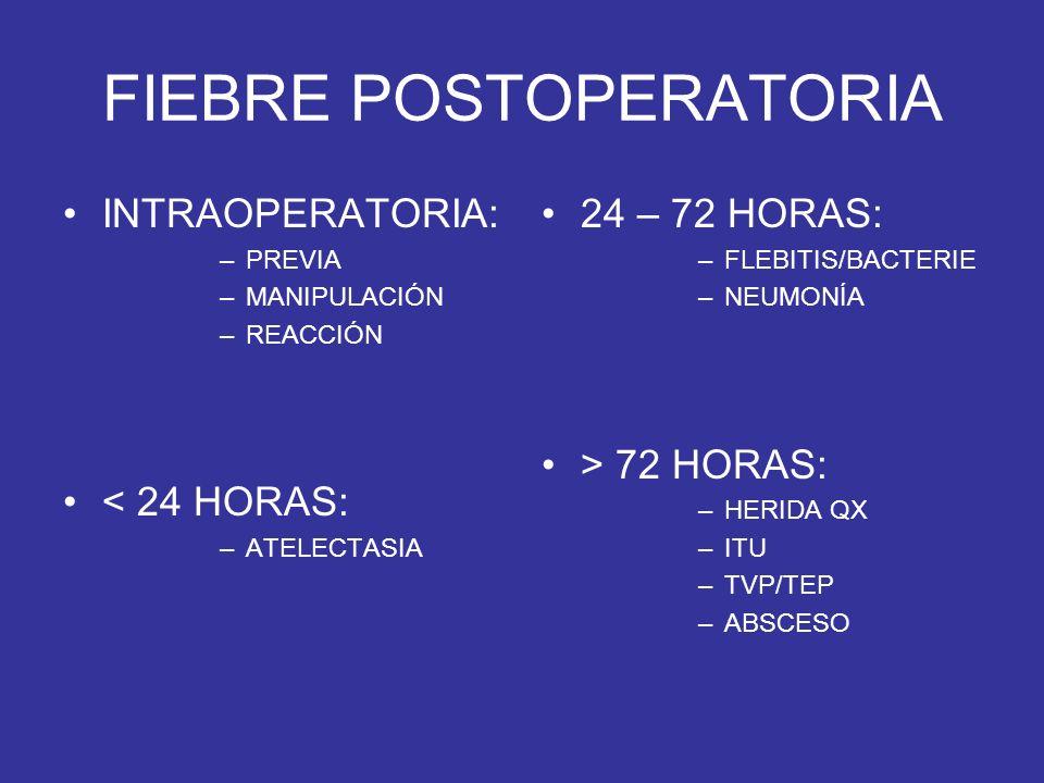 FIEBRE POSTOPERATORIA INTRAOPERATORIA: –PREVIA –MANIPULACIÓN –REACCIÓN < 24 HORAS: –ATELECTASIA 24 – 72 HORAS: –FLEBITIS/BACTERIE –NEUMONÍA > 72 HORAS