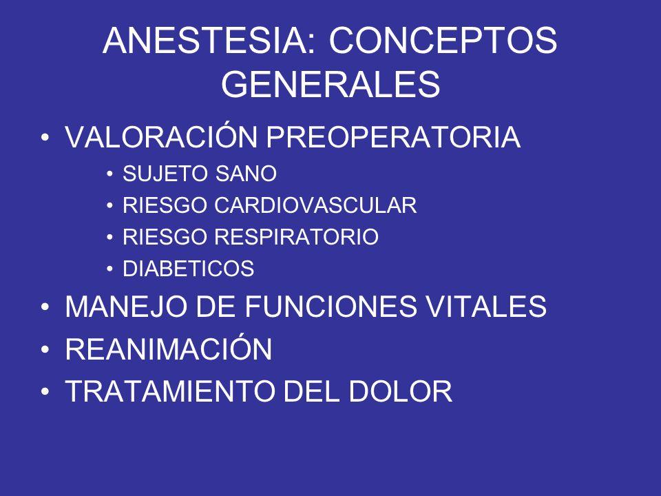 ANESTESIA: CONCEPTOS GENERALES VALORACIÓN PREOPERATORIA SUJETO SANO RIESGO CARDIOVASCULAR RIESGO RESPIRATORIO DIABETICOS MANEJO DE FUNCIONES VITALES R
