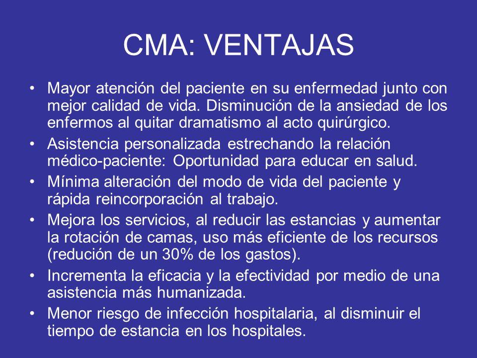 CMA: VENTAJAS Mayor atención del paciente en su enfermedad junto con mejor calidad de vida. Disminución de la ansiedad de los enfermos al quitar drama