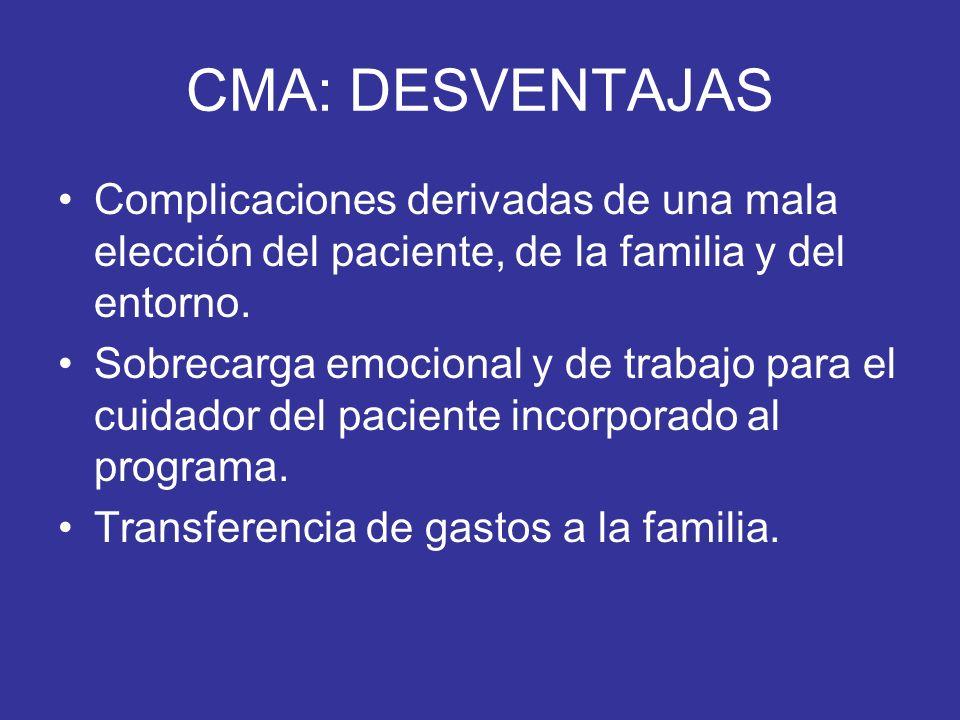 CMA: DESVENTAJAS Complicaciones derivadas de una mala elección del paciente, de la familia y del entorno. Sobrecarga emocional y de trabajo para el cu