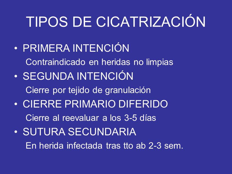 TIPOS DE CICATRIZACIÓN PRIMERA INTENCIÓN Contraindicado en heridas no limpias SEGUNDA INTENCIÓN Cierre por tejido de granulación CIERRE PRIMARIO DIFER