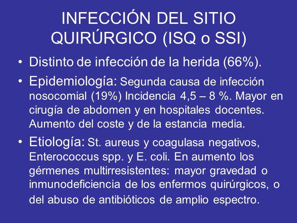 INFECCIÓN DEL SITIO QUIRÚRGICO (ISQ o SSI) Distinto de infección de la herida (66%). Epidemiología: Segunda causa de infección nosocomial (19%) Incide