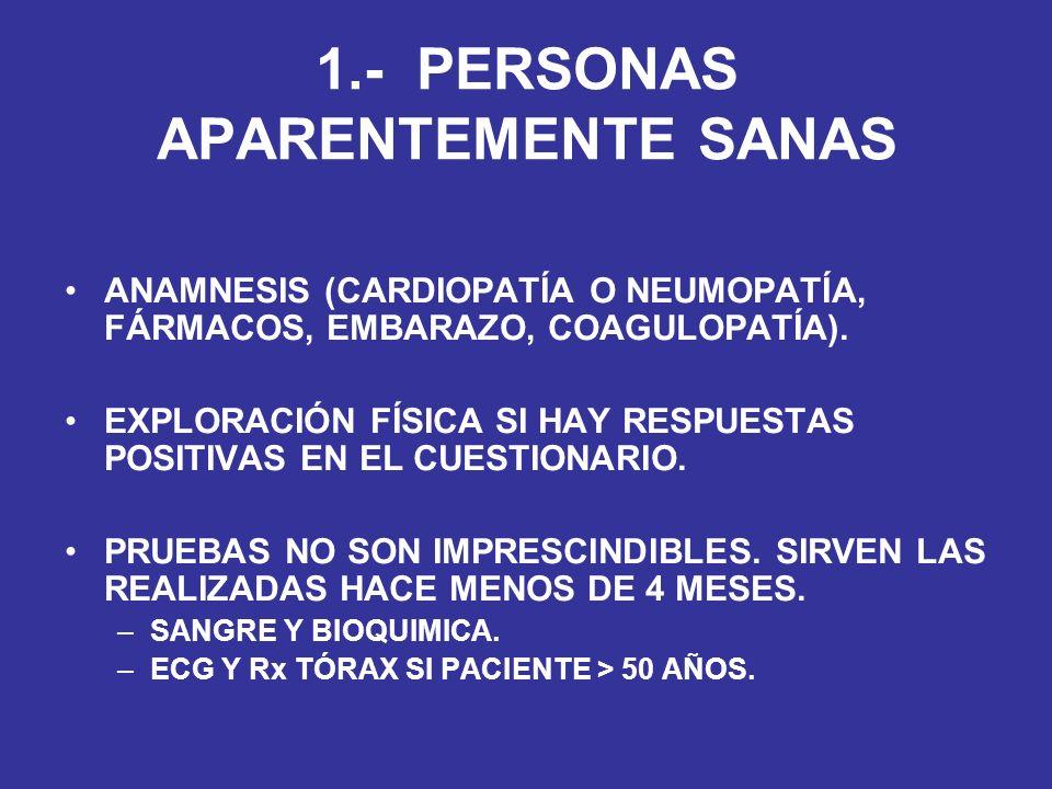 1.- PERSONAS APARENTEMENTE SANAS ANAMNESIS (CARDIOPATÍA O NEUMOPATÍA, FÁRMACOS, EMBARAZO, COAGULOPATÍA). EXPLORACIÓN FÍSICA SI HAY RESPUESTAS POSITIVA