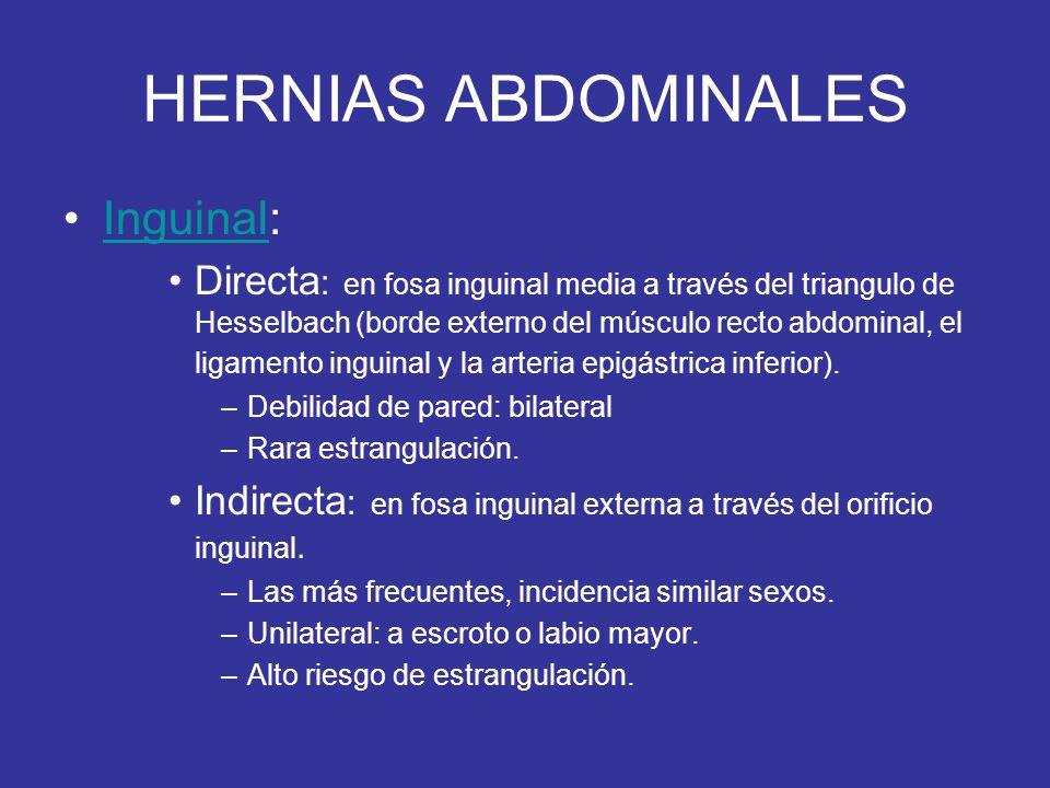HERNIAS ABDOMINALES Inguinal:Inguinal Directa : en fosa inguinal media a través del triangulo de Hesselbach (borde externo del músculo recto abdominal