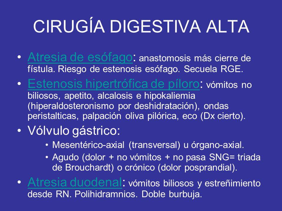 CIRUGÍA DIGESTIVA ALTA Atresia de esófago: anastomosis más cierre de fístula. Riesgo de estenosis esófago. Secuela RGE.Atresia de esófago Estenosis hi