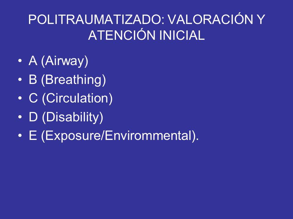 POLITRAUMATIZADO: VALORACIÓN Y ATENCIÓN INICIAL A (Airway) B (Breathing) C (Circulation) D (Disability) E (Exposure/Envirommental).