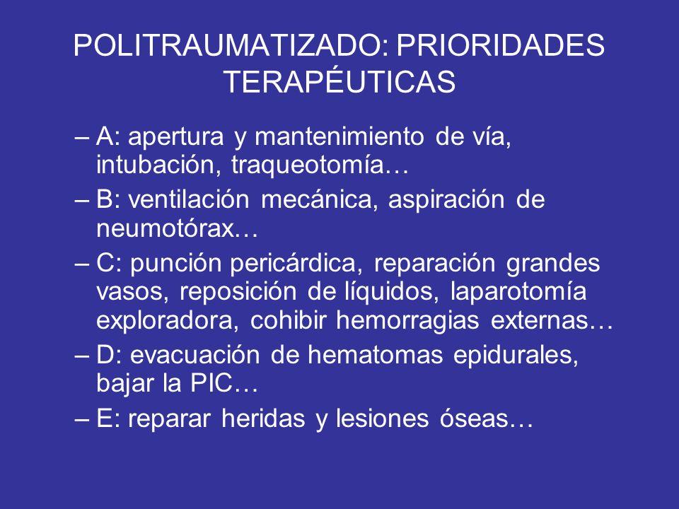 POLITRAUMATIZADO: PRIORIDADES TERAPÉUTICAS –A: apertura y mantenimiento de vía, intubación, traqueotomía… –B: ventilación mecánica, aspiración de neum
