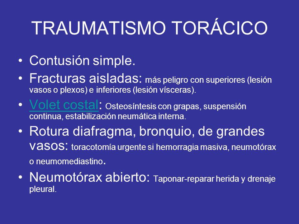 TRAUMATISMO TORÁCICO Contusión simple. Fracturas aisladas: más peligro con superiores (lesión vasos o plexos) e inferiores (lesión vísceras). Volet co