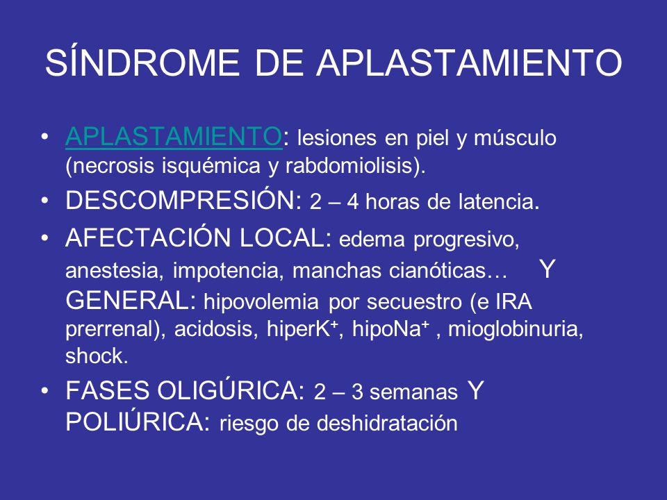 SÍNDROME DE APLASTAMIENTO APLASTAMIENTO: lesiones en piel y músculo (necrosis isquémica y rabdomiolisis).APLASTAMIENTO DESCOMPRESIÓN: 2 – 4 horas de l