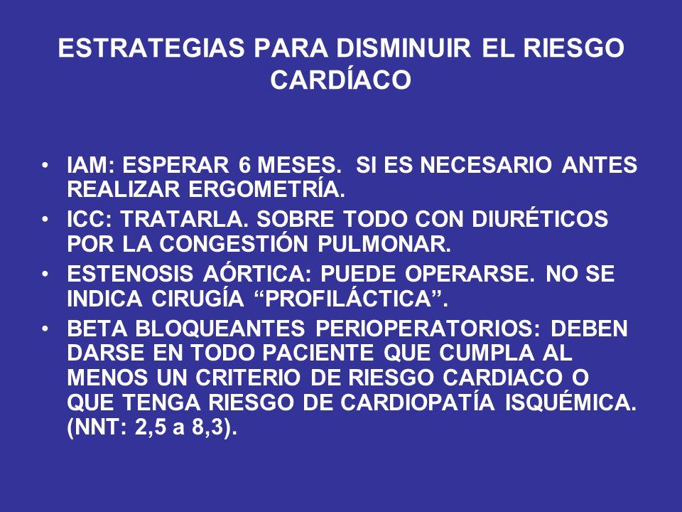 ESTRATEGIAS PARA DISMINUIR EL RIESGO CARDÍACO IAM: ESPERAR 6 MESES. SI ES NECESARIO ANTES REALIZAR ERGOMETRÍA. ICC: TRATARLA. SOBRE TODO CON DIURÉTICO
