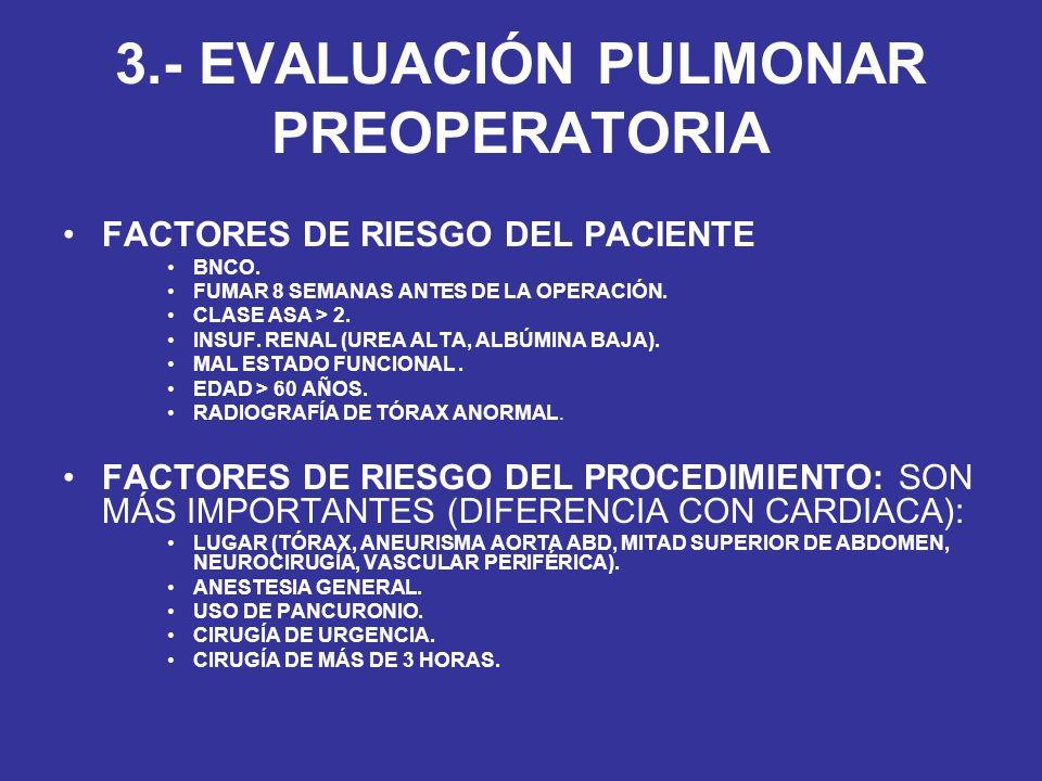 3.- EVALUACIÓN PULMONAR PREOPERATORIA FACTORES DE RIESGO DEL PACIENTE BNCO. FUMAR 8 SEMANAS ANTES DE LA OPERACIÓN. CLASE ASA > 2. INSUF. RENAL (UREA A