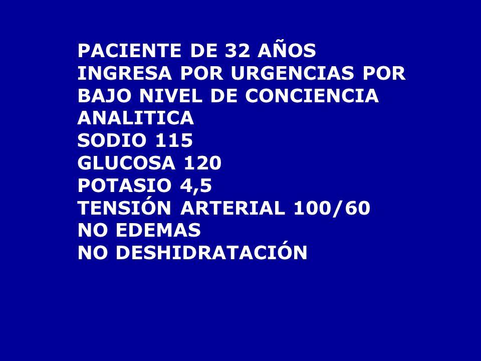 PACIENTE DE 32 AÑOS INGRESA POR URGENCIAS POR BAJO NIVEL DE CONCIENCIA ANALITICA SODIO 115 GLUCOSA 120 POTASIO 4,5 TENSIÓN ARTERIAL 100/60 NO EDEMAS NO DESHIDRATACIÓN