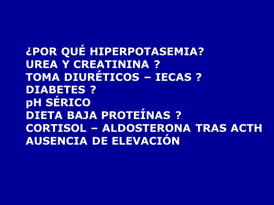 TENSIÓN ARTERIAL 90/50 ECG TAQUICARDIA VENTRICULAR QRS ANCHO PROPRANOLOL: NO MEJORA PREPARO PALAS LLEGA ANALITICA URGENTE: POTASIO 6,5 mEq/L GLUCONATO