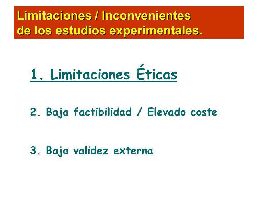 1. Limitaciones Éticas 2. Baja factibilidad / Elevado coste 3. Baja validez externa Limitaciones / Inconvenientes de los estudios experimentales.