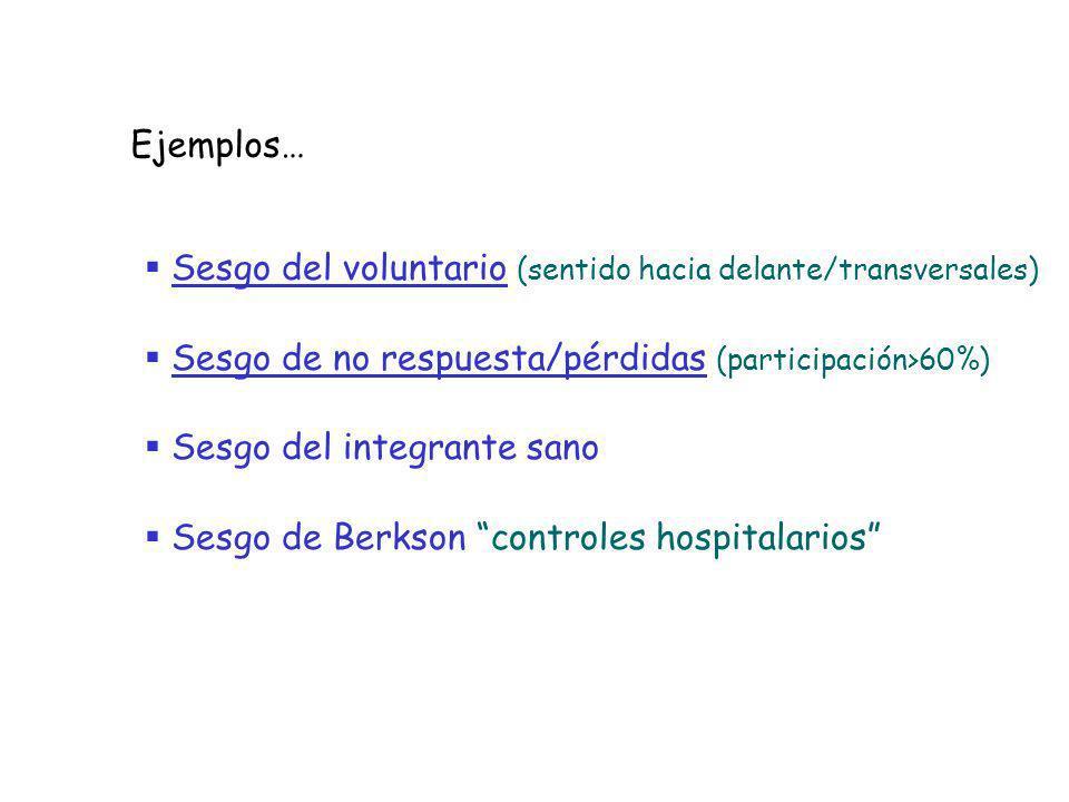 Sesgo del voluntario (sentido hacia delante/transversales) Sesgo de no respuesta/pérdidas (participación>60%) Sesgo del integrante sano Sesgo de Berks