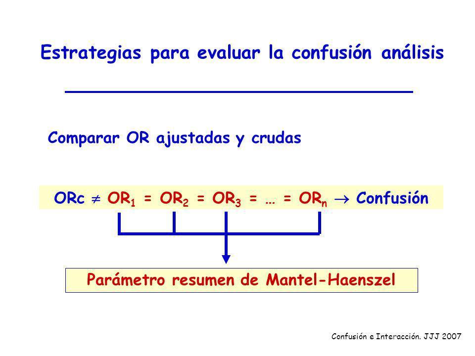 Estrategias para evaluar la confusión análisis Comparar OR ajustadas y crudas ORc OR 1 = OR 2 = OR 3 = … = OR n Confusión Confusión e Interacción. JJJ