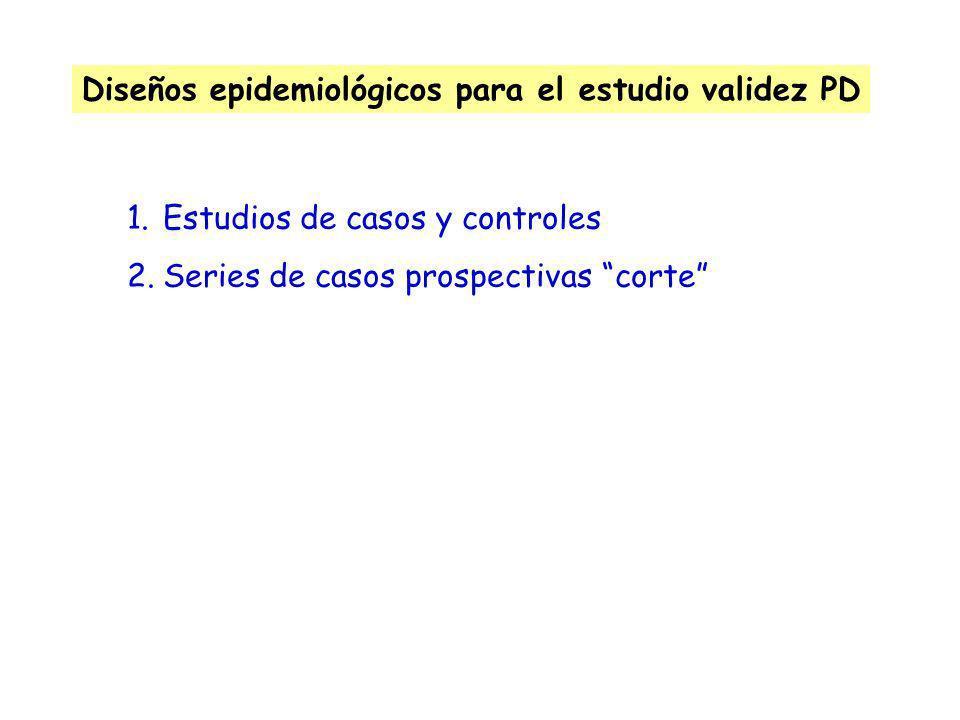 Diseños epidemiológicos para el estudio validez PD 1.Estudios de casos y controles 2.Series de casos prospectivas corte