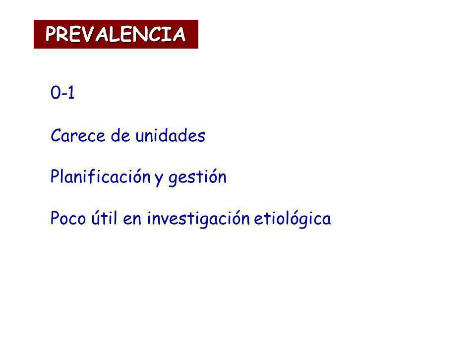 0-1 Carece de unidades Planificación y gestión Poco útil en investigación etiológica PREVALENCIA