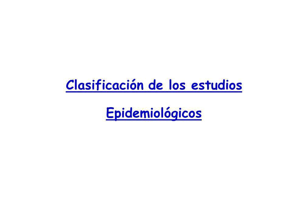 Clasificación de los estudios Epidemiológicos