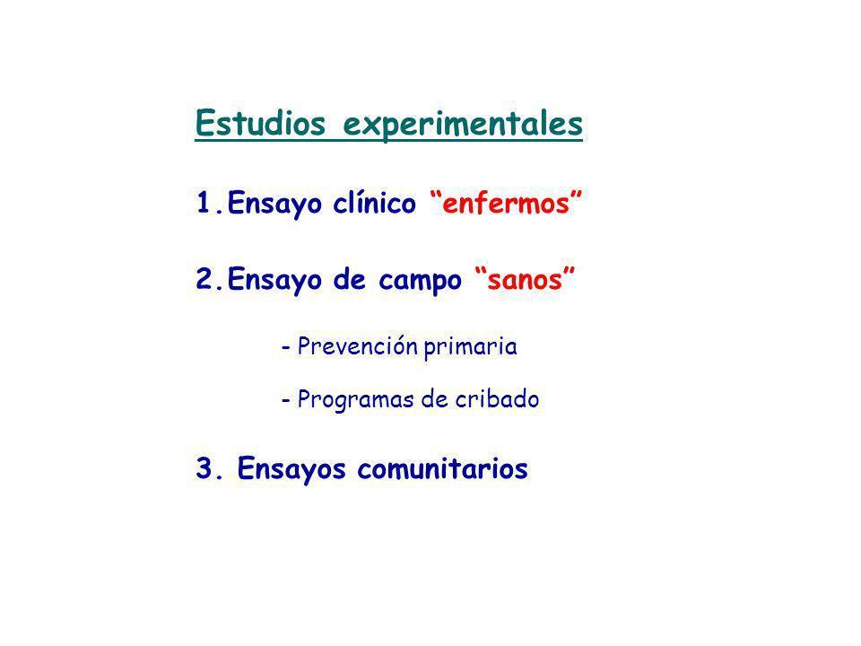 Estudios experimentales 1.Ensayo clínico enfermos 2.Ensayo de campo sanos - Prevención primaria - Programas de cribado 3. Ensayos comunitarios