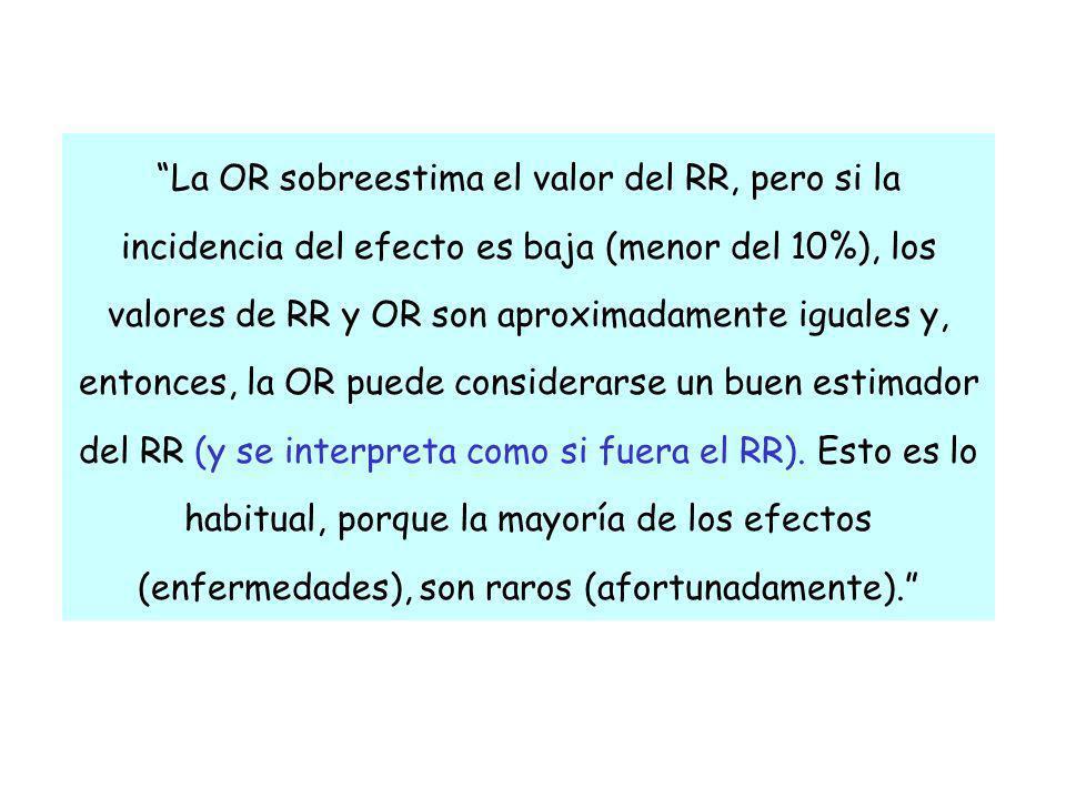 La OR sobreestima el valor del RR, pero si la incidencia del efecto es baja (menor del 10%), los valores de RR y OR son aproximadamente iguales y, ent