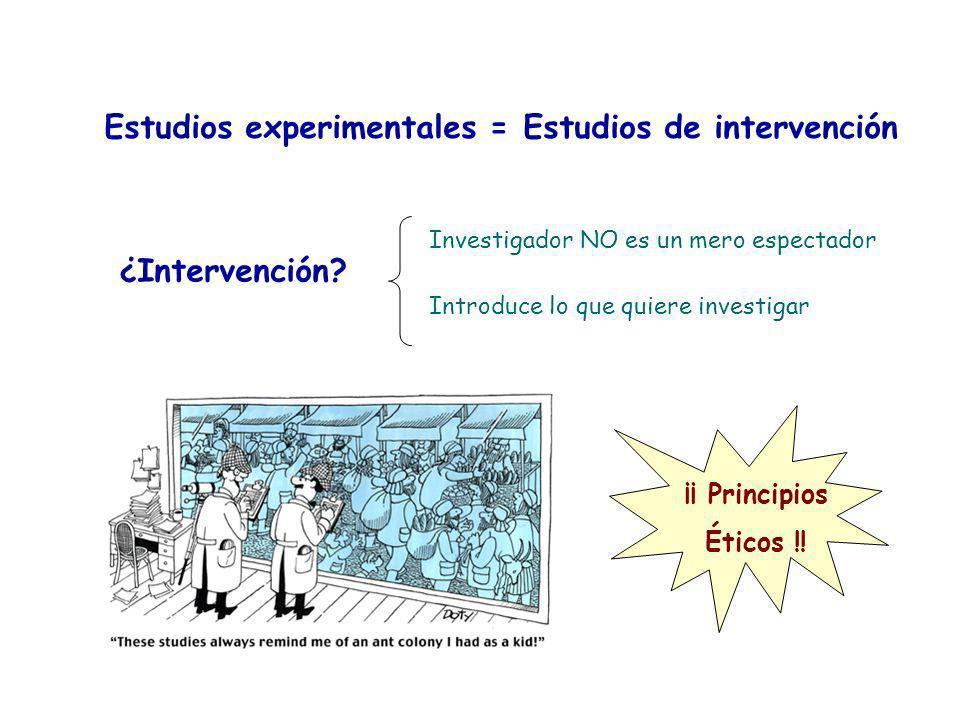 Estudios experimentales = Estudios de intervención ¿Intervención? Investigador NO es un mero espectador Introduce lo que quiere investigar ¡¡ Principi