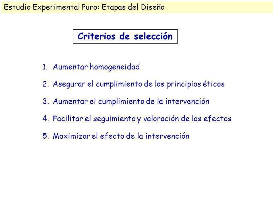 Criterios de selección 1.Aumentar homogeneidad 2.Asegurar el cumplimiento de los principios éticos 3.Aumentar el cumplimiento de la intervención 4.Fac
