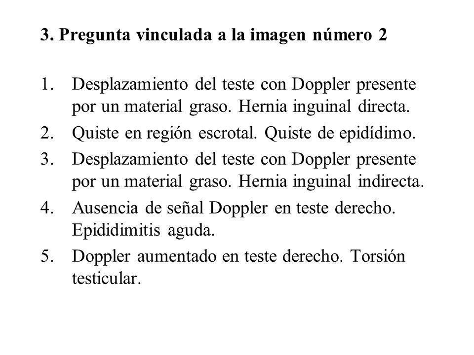 3. Pregunta vinculada a la imagen número 2 1.Desplazamiento del teste con Doppler presente por un material graso. Hernia inguinal directa. 2.Quiste en