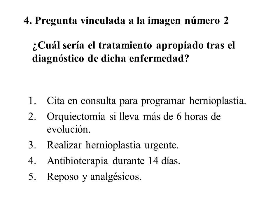 4. Pregunta vinculada a la imagen número 2 ¿Cuál sería el tratamiento apropiado tras el diagnóstico de dicha enfermedad? 1.Cita en consulta para progr