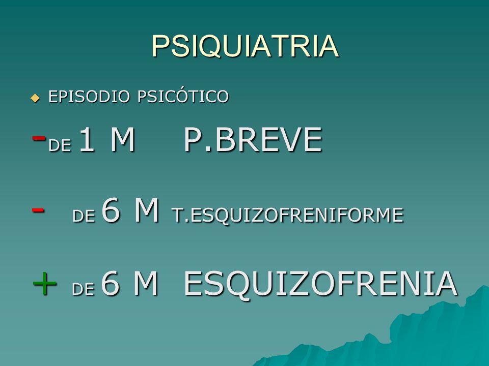 PSIQUIATRIA EPISODIO PSICÓTICO EPISODIO PSICÓTICO - DE 1 M P.BREVE - DE 6 M T.ESQUIZOFRENIFORME + DE 6 M ESQUIZOFRENIA