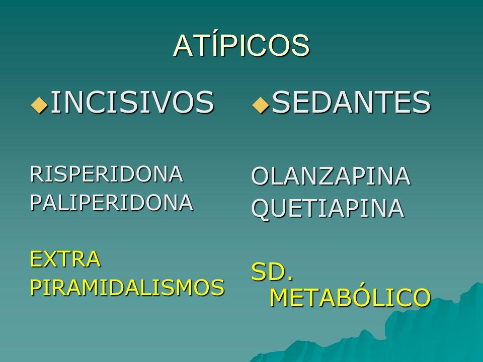 ATÍPICOS INCISIVOS INCISIVOSRISPERIDONAPALIPERIDONAEXTRAPIRAMIDALISMOS SEDANTES SEDANTESOLANZAPINAQUETIAPINA SD. METABÓLICO