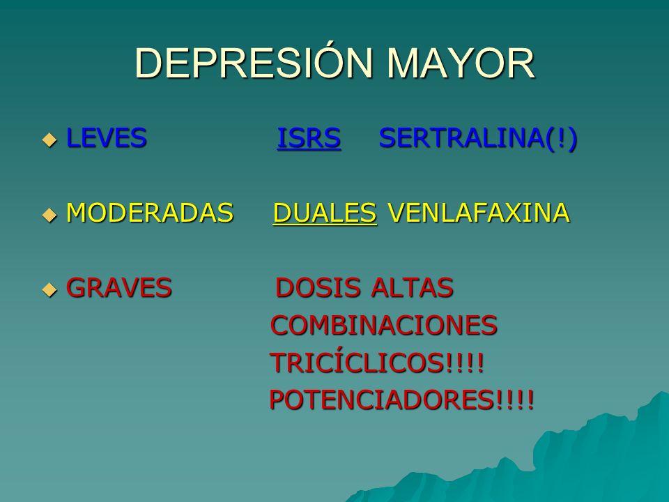 DEPRESIÓN MAYOR LEVES ISRS SERTRALINA(!) LEVES ISRS SERTRALINA(!) MODERADAS DUALES VENLAFAXINA MODERADAS DUALES VENLAFAXINA GRAVES DOSIS ALTAS GRAVES