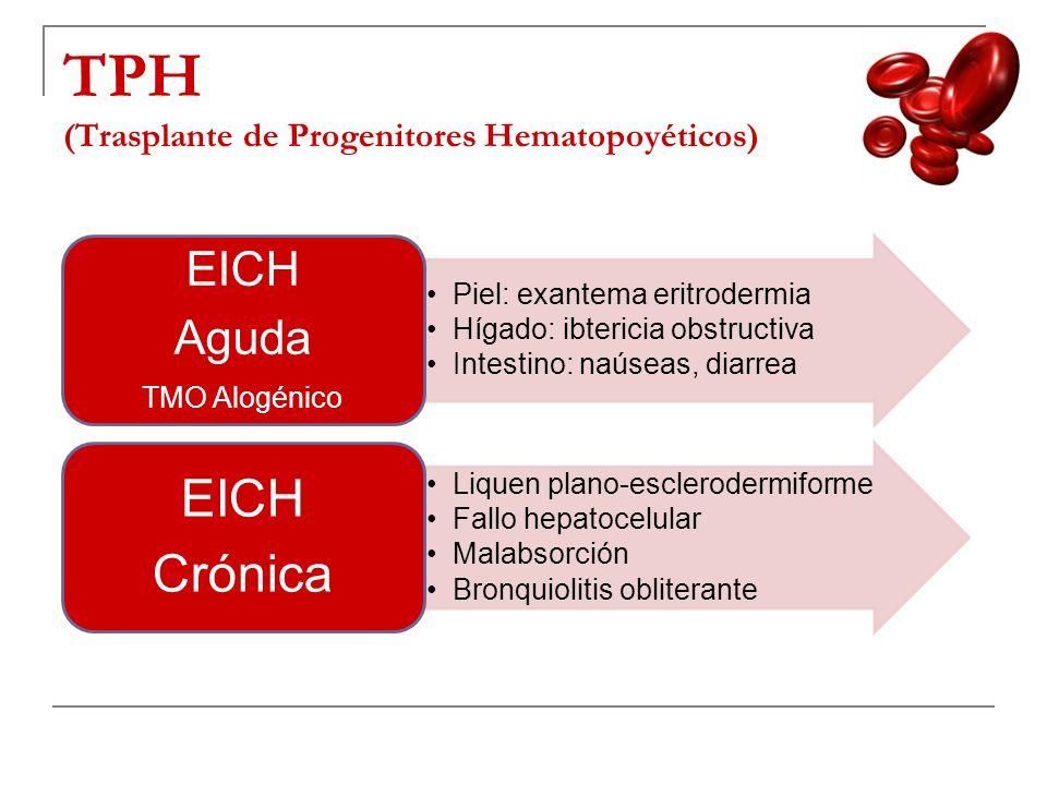 TPH (Trasplante de Progenitores Hematopoyéticos) Piel: exantema eritrodermia Hígado: ibtericia obstructiva Intestino: naúseas, diarrea EICH Aguda TMO
