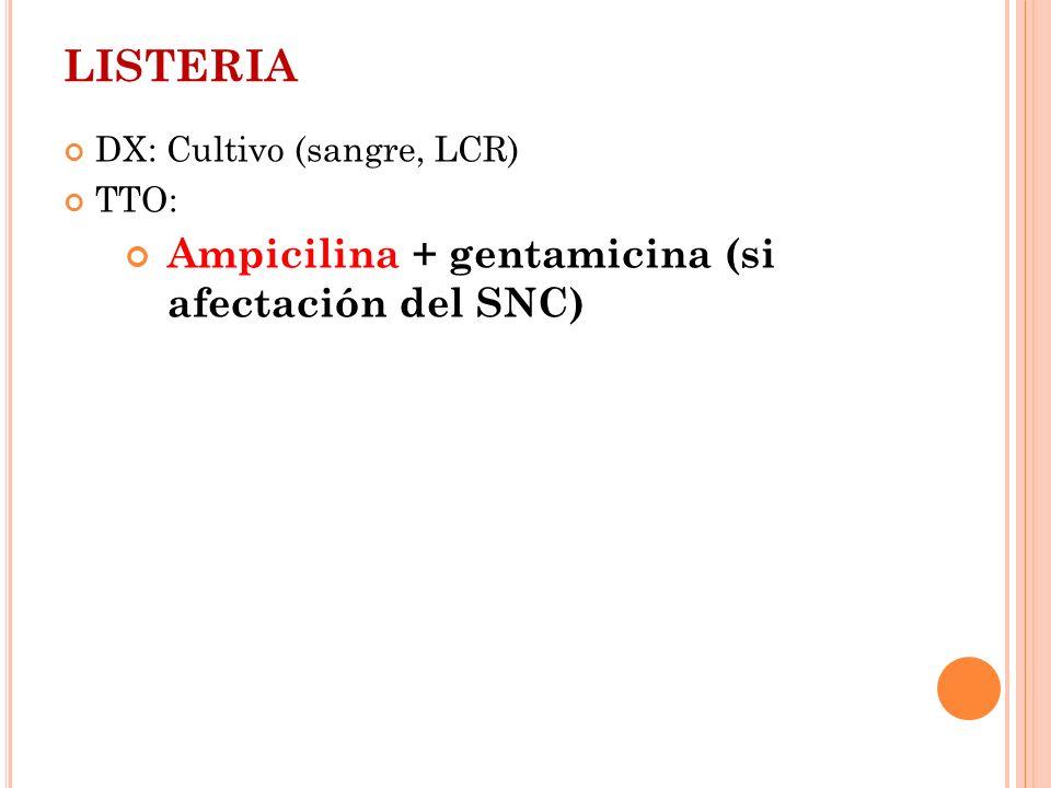 LISTERIA DX: Cultivo (sangre, LCR) TTO: Ampicilina + gentamicina (si afectación del SNC)