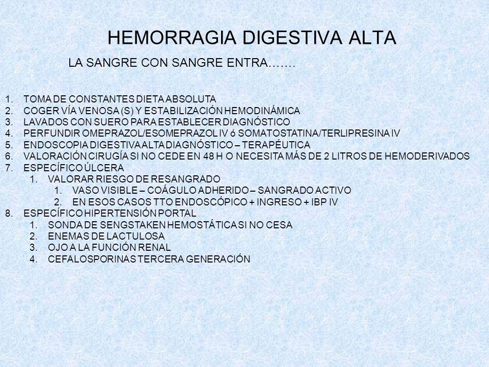 HEMORRAGIA DIGESTIVA ALTA LA SANGRE CON SANGRE ENTRA……. 1.TOMA DE CONSTANTES DIETA ABSOLUTA 2.COGER VÍA VENOSA (S) Y ESTABILIZACIÓN HEMODINÁMICA 3.LAV