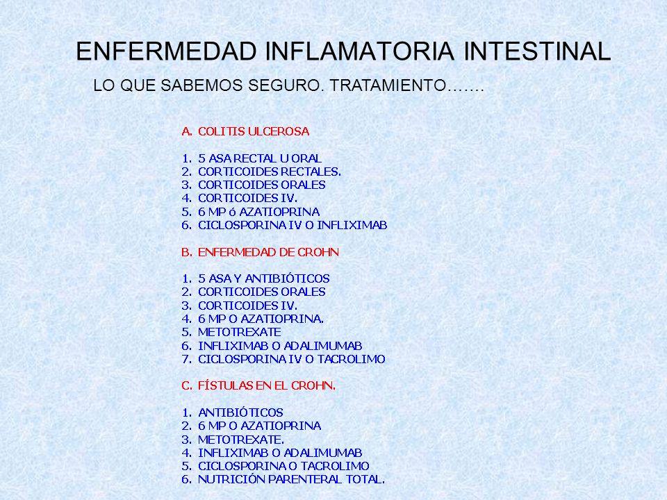 ENFERMEDAD INFLAMATORIA INTESTINAL LO QUE SABEMOS SEGURO. TRATAMIENTO…….