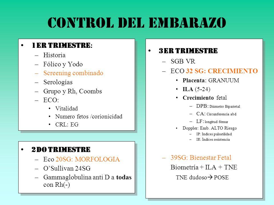 Control del embarazo 1er trimestre : –Historia –Fólico y Yodo –Screening combinado –Serologías –Grupo y Rh, Coombs –ECO: Vitalidad Numero fetos /corio
