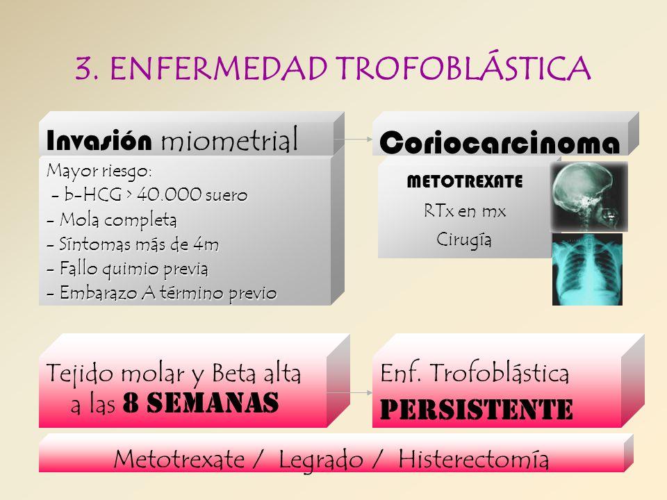 Mayor riesgo: - b-HCG > 40.000 suero - b-HCG > 40.000 suero - Mola completa - Síntomas más de 4m - Fallo quimio previa - Embarazo A término previo 3.