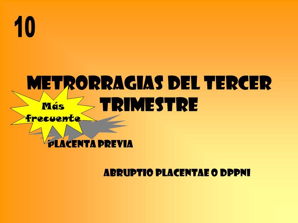 METRORRAGIAS DEL TERCER TRIMESTRE Placenta previa Abruptio placentae o DPPNI Más frecuente