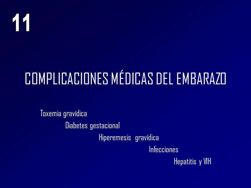 COMPLICACIONES MÉDICAS DEL EMBARAZO Toxemia gravídica Diabetes gestacional Hiperemesis gravídica Infecciones Hepatitis y VIH